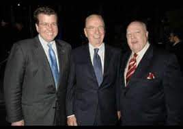 From right to far right: Cavuto, Murdoch, Ailes   (AP photo)