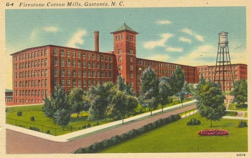The Loray Mill in its heyday, when it made fabric for the Firestone tire company.