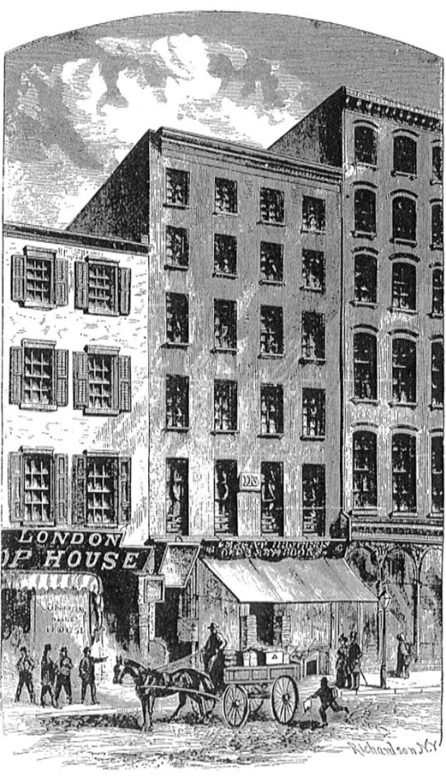 First offices of the New York Times, starting in 1851. 113 Nassau St.
