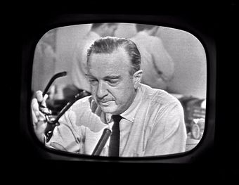 CBS News anchor Walter Cronkite struggles to keep his composure on-camera as he announces the news of the death of President John F. Kennedy live on the air on November 22, 1963.     —Getty Images.