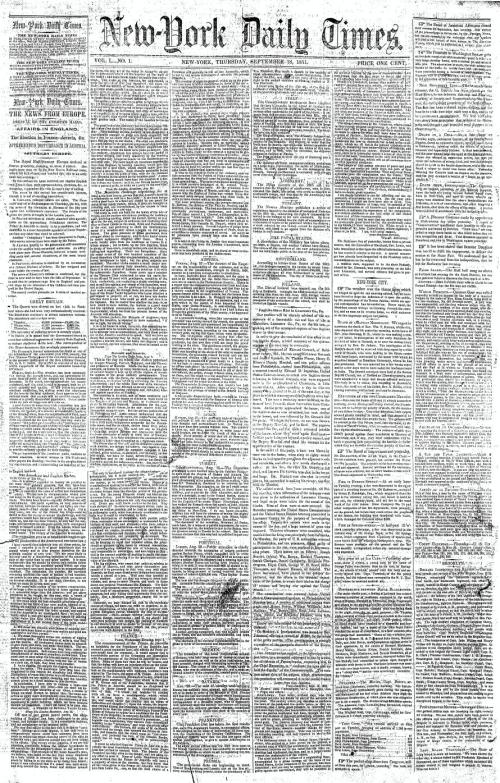 The_New-York_Daily_Times_first_issue