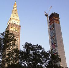 The building under construction in September 2008; the Met Life Tower is in on the left
