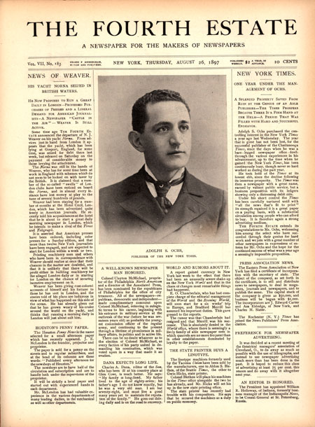 A young Adolph Ochs is noted in the trade press.