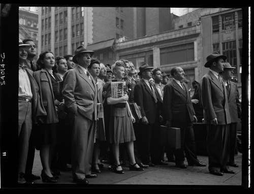 Americans in Times Square learn the news about D-Day
