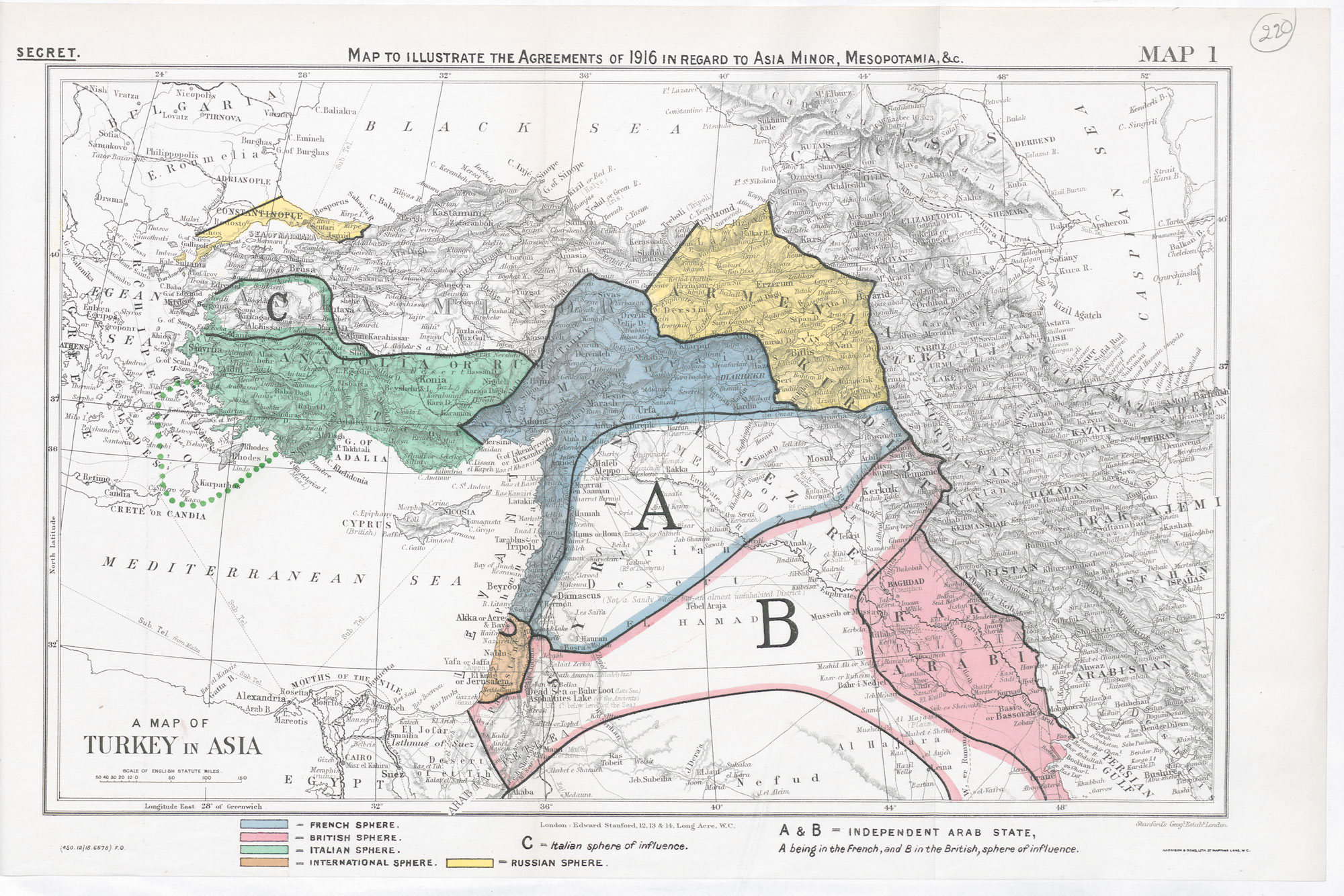 Map of British and French plans for dividing the Ottoman Empire.  (British Library)