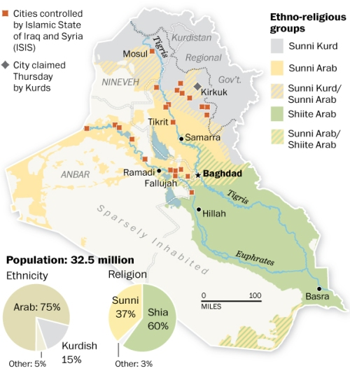 An ethno-religious map of Iraq.  Washington Post