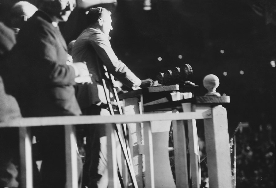 A rare view of FDR using crutches. PBS identifies this as a photo taken in 1924 when FDR nominated Al Smith a the DNC at Madison Square Garden, NYC. Photo is credited to the Roosevelt Little White House state historic site, located in Warm Springs, Ga.