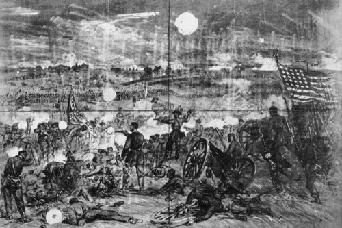 Sketch of action at Gettysburg by Alfred Waud for Harper's Weekly. Library of Congress.