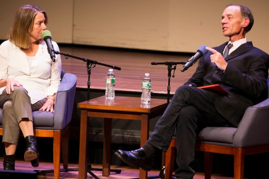 "Jill Abramson ( L) and David Carr (R) discuss what David Carr describes as the ""present future"", when the production and distribution of media is in constant flux. Photo by Ann Wang"