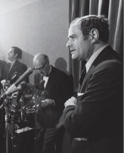 New York Times publisher Arthur Ochs Sulzberger defending publication of the Pentagon Papers, June 16, 1971, in New York.  Barton Silverman/ New York Times